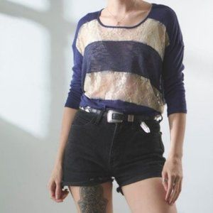 3 for $25 Staring at Stars Navy Lace Stripe Top